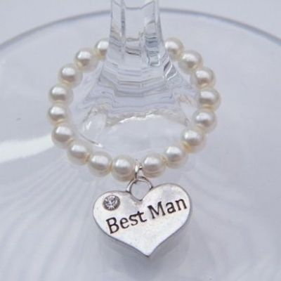Best Man Wine Glass Charm - Full Bead Style